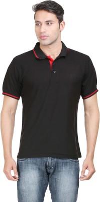 Sniper Solid Men's Polo Neck Black T-Shirt