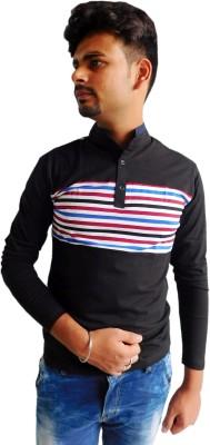 Indiano Striped Men,s Mandarin Collar Black T-Shirt