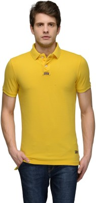 Tailor Craft Solid Men's Polo Yellow T-Shirt