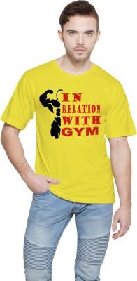 Shopping Monster Printed Men,s Round Neck Yellow T-Shirt