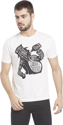 Globus Printed Men,s Round Neck White T-Shirt