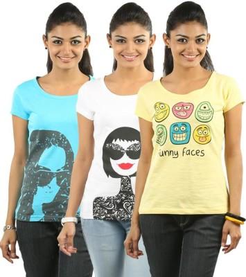 ESPRESSO Printed Women's Round Neck Multicolor T-Shirt