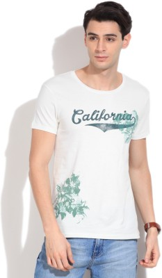 United Colors of Benetton Printed Men's Round Neck White T-Shirt