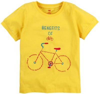 Oye Printed Baby Girl's Round Neck Yellow T-Shirt