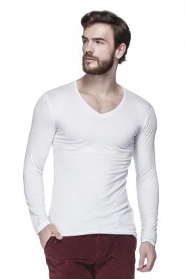 Tinted Solid Men's V-neck White T-Shirt