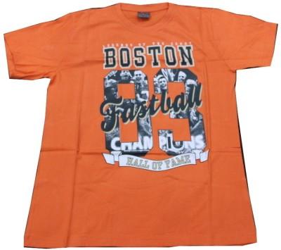 CLICKPURCH Printed Men's Round Neck Orange T-Shirt