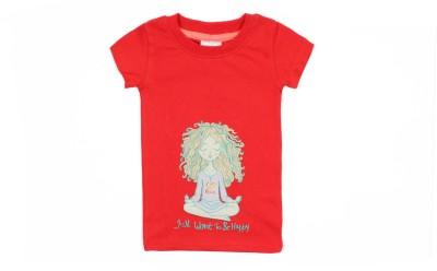 Nahshonbaby Graphic Print Girl's Round Neck Red T-Shirt