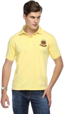 Derby Jeans Community Solid Men's Polo Neck Yellow T-Shirt