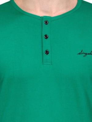 Slingshot Solid Men's Henley Green T-Shirt