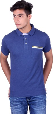 Heritage Denim Solid Men's Mandarin Collar Dark Blue T-Shirt
