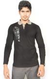 Hueman Printed Men's Polo Neck Black T-S...