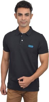 London Eye Solid Men,s Polo Neck Black, Blue T-Shirt