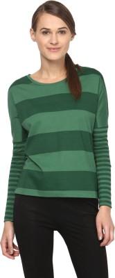 Annapoliss Striped Women's Round Neck White, Green T-Shirt