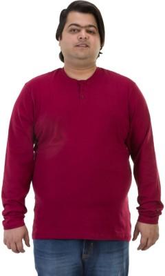 BIGBANANA Solid Men's Henley Maroon T-Shirt