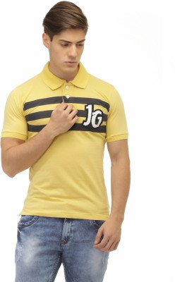 Jogur Striped Men's Polo Neck Yellow T-Shirt