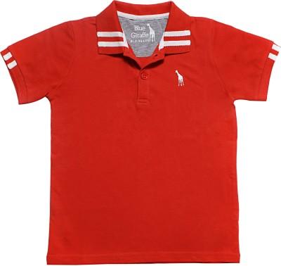 Blue Giraffe Solid Boy's Polo Neck Red T-Shirt