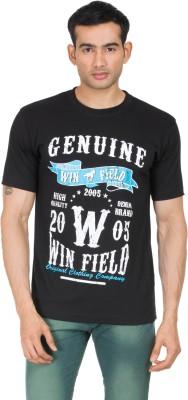 Winfield Printed Men's Round Neck Black T-Shirt