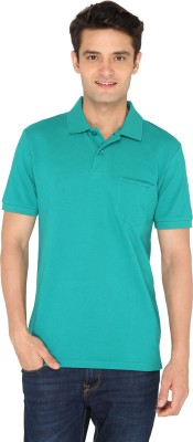 Chromozome Solid Men's Polo Neck Green T-Shirt