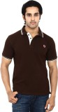 Stackia Solid Men's Polo Neck Brown T-Sh...
