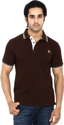 STACKIA Solid Men's Polo Neck Brown T-Shirt