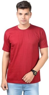 Tripr Solid Men's Round Neck Maroon T-Shirt