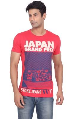 Stoke Graphic Print Men's Round Neck Red T-Shirt