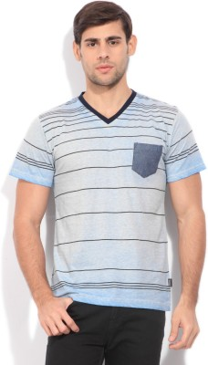 Indicode Striped Men's V-neck Blue T-Shirt