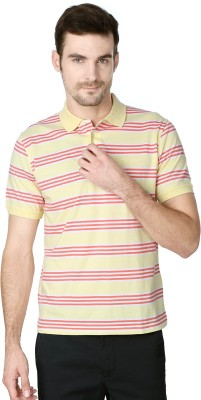 Peter England Striped Men's Polo Neck Yellow T-Shirt