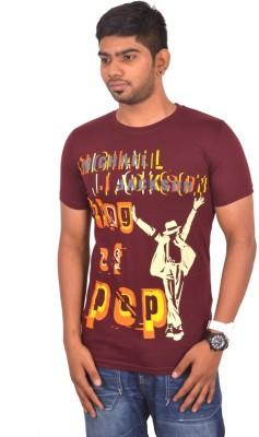 Rogue Printed Men's Round Neck Brown T-Shirt