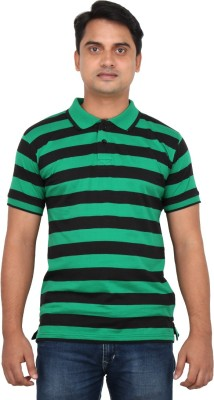 LOOX by Apoorti Striped Men's Polo Neck Green, Black T-Shirt
