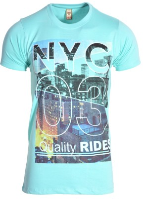 IND CLASSIC Printed Men's Round Neck Light Green T-Shirt