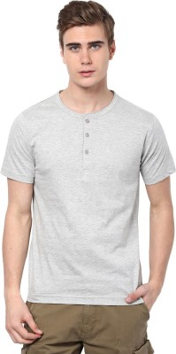 Aventura Outfitters Solid Men's Henley Grey T-Shirt