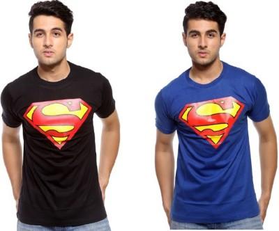Trendmakerz Graphic Print Men's Round Neck Black, Blue T-Shirt