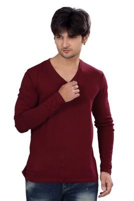 Elegance Cut Solid Men's V-neck Maroon T-Shirt