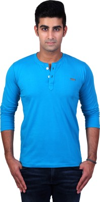 Bridge Solid Men's Henley Light Blue T-Shirt
