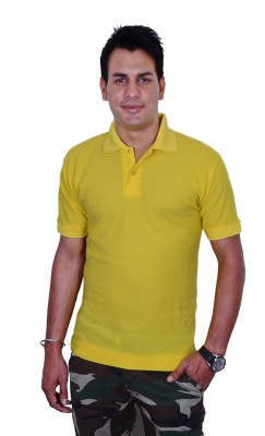 Blaze Solid Men's Polo Yellow T-Shirt