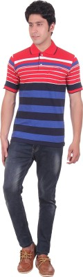 Montreal Striped Men,s Polo Red T-Shirt