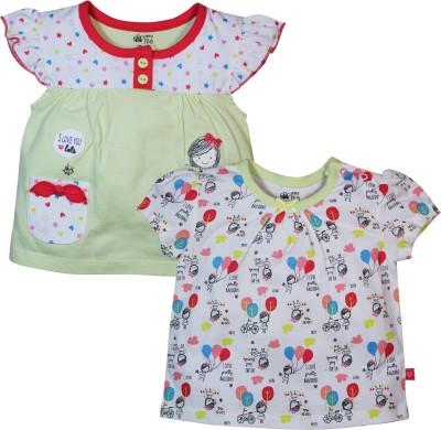 FS Mini Klub Printed Baby Girl's Round Neck Multicolor T-Shirt
