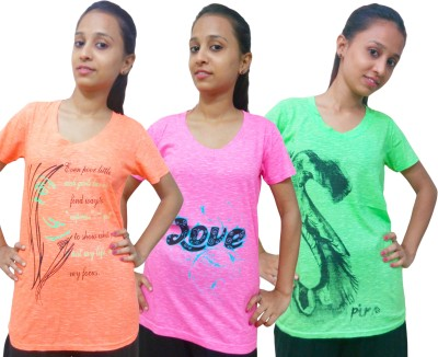 Instyle Graphic Print Women's V-neck Orange, Pink, Green T-Shirt
