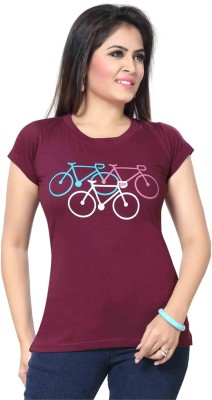 Prova Solid Women's Round Neck Maroon T-Shirt