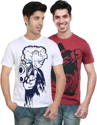 Algotton Graphic Print Men,s Round Neck White, Maroon T-Shirt