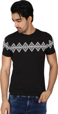 Easies Printed Men's Round Neck Black T-Shirt