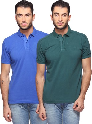 GOAT Solid Men's Polo Neck Blue, Dark Green T-Shirt
