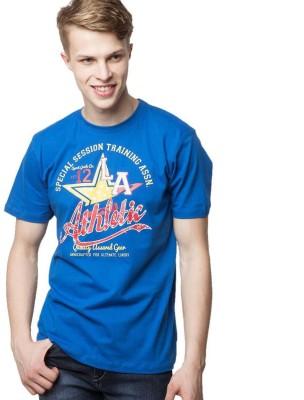 American Swan Printed Men's Round Neck Blue T-Shirt