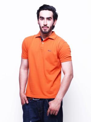 Skatti Solid Men,s Polo Neck Orange T-Shirt