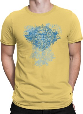 Stratton Stoffa Printed Men's Round Neck Yellow T-Shirt