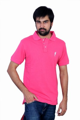The Casanova Solid Men's Polo Pink T-Shirt
