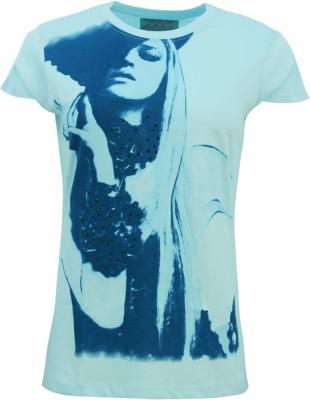 Kothari Printed Women's Round Neck Blue T-Shirt
