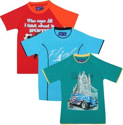 SPN Garments Printed Boy's Round Neck Orange, Green, Blue T-Shirt