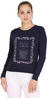 Xiomi Printed Women's Round Neck Blue T-Shirt